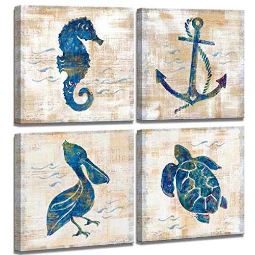 ede62647b89 Wall Art for Bathroom Canvas Print Picture Sea Turtle Seahorse Seabird  Pictures Posters 4 Panel Framed