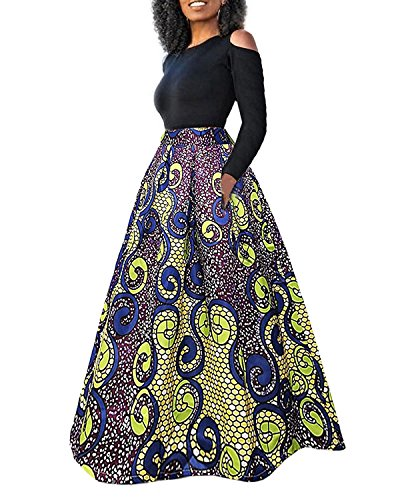 Ofenbuy Women's African Floral Print Cold Shoulder Two Piece High Waist Dress Suits Rose Print Silk Dress