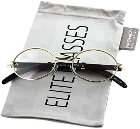 79642121b24 Elite WOOD Art Clear Lens Eyeglasses Unisex Vintage Fashion Oval Frame  Glasses