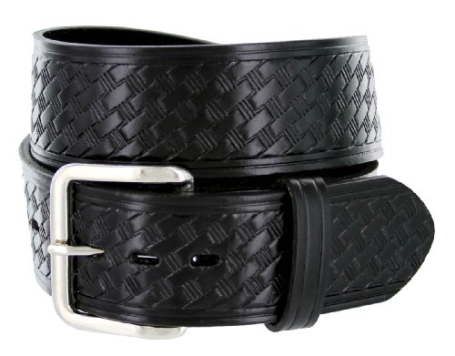 - Men's Basketweave 1.75 Inch Wide Genuine One Piece Leather Utility Uniform Work Belt (32 Black)