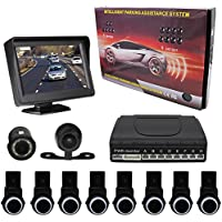 KIPTOP Universal Waterproof Night Vision Backup Camera and Video Monitor Kit,4.3 TFT LCD Rear View Monitor with 8 Alert Parking Sensors for All Cars (Black)