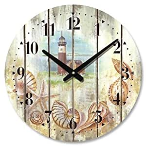 Amazon Com Weathered Beach Wall Clock With Lighthouse