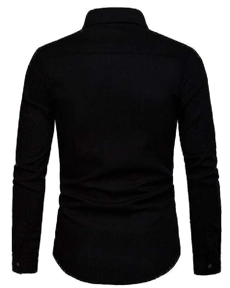 Joe Wenko Mens Casual Long-Sleeve Button Down Linen Business Shirts