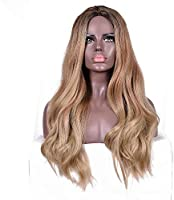 Wig for Women Long Wavy Ombre Wig Women's Fashion Synthetic Wig Brown