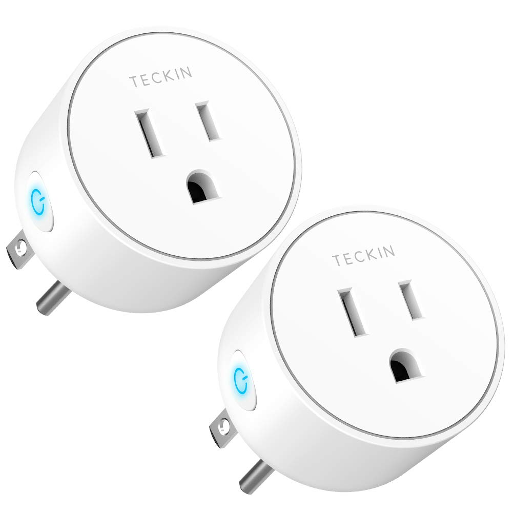 Smart Plug Mini Outlet Compatible with Amazon Alexa and Google Assistant, TECKIN Wifi Enabled Remote Control Smart Socket with Timer Function, No Hub Required,White, 2 Pack (2 pack)