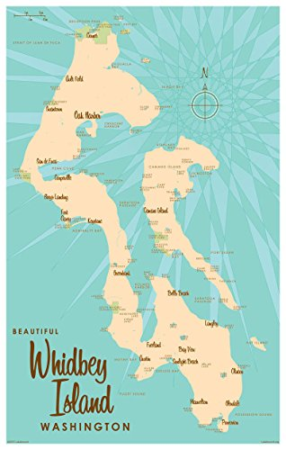 Whidbey Island Washington Map Vintage-Style Art Print by Lakebound (12