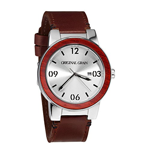 Original Grain Rosewood Men's Watch with Brown Italian Leather Band