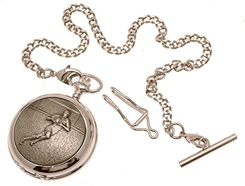 Engraving included - Solid pewter fronted quartz pocket watch - Rugby design 26