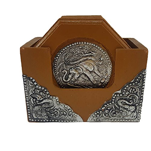 Thai Coaster Brown Wooden with Elephant Nickle Thailand National Symbol Valuable Collection SET of 6 - Online Coupons Costa
