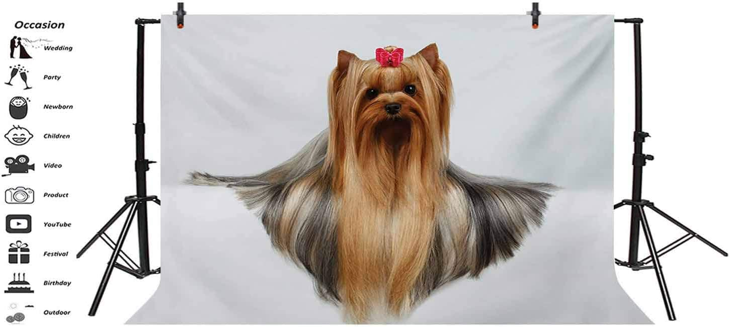 7x10 FT Yorkie Vinyl Photography Backdrop,Dog with Headphones Music Listening Yorkshire Terrier Hand Drawn Caricature Background for Photo Backdrop Baby Newborn Photo Studio Props