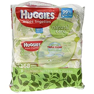 Huggies Natural Care Fragrance Free Soft Pack Wipes 168ct. Total,56 Count (Pack of 3)
