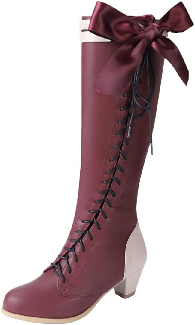 COSKING Violet Evergarden Shoes Knee High Women PU Leather Japanese Anime Cosplay Boots
