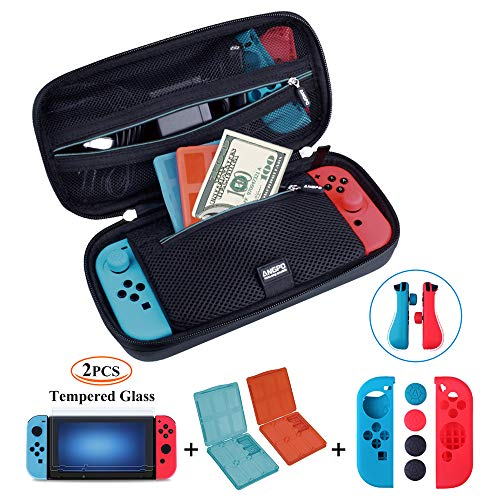 (ANGPO for Nintendo Switch 4in1 Protector Kit,Hard Shell Travel Case/Joycon Grips Guards/2x HD Anti Glare Switch Screen Protector/2x Game Card and Micro SD Card Case (Oxford-Blue))