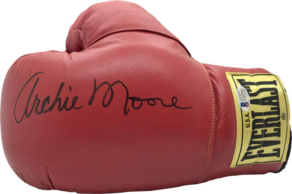 Archie Moore Signed Autographed Red Everlast Boxing Glove Beckett BAS
