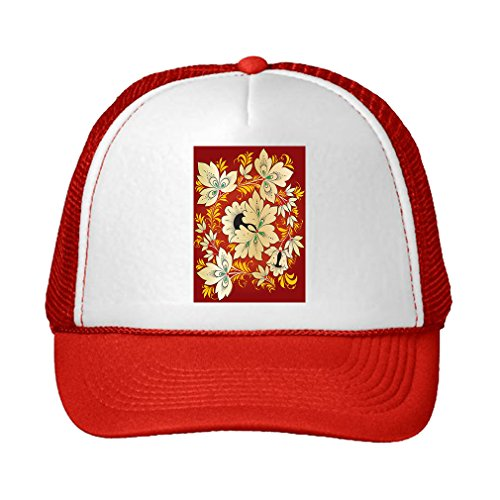 Speedy Pros Russian Traditional Hohloma Ornament Adjustable High Profile Trucker Hat Cap Red