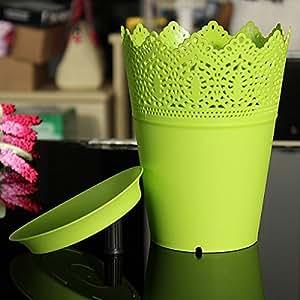 OAGTECH Plastic Colorful Plant Pot Flower Planter Tray Home Office Decor Lace (Color Yellow)