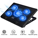 MoKo Laptop Cooler, NoteBook Cooling Pad Silent Gaming Laptop Radiator with Adjustable Stand