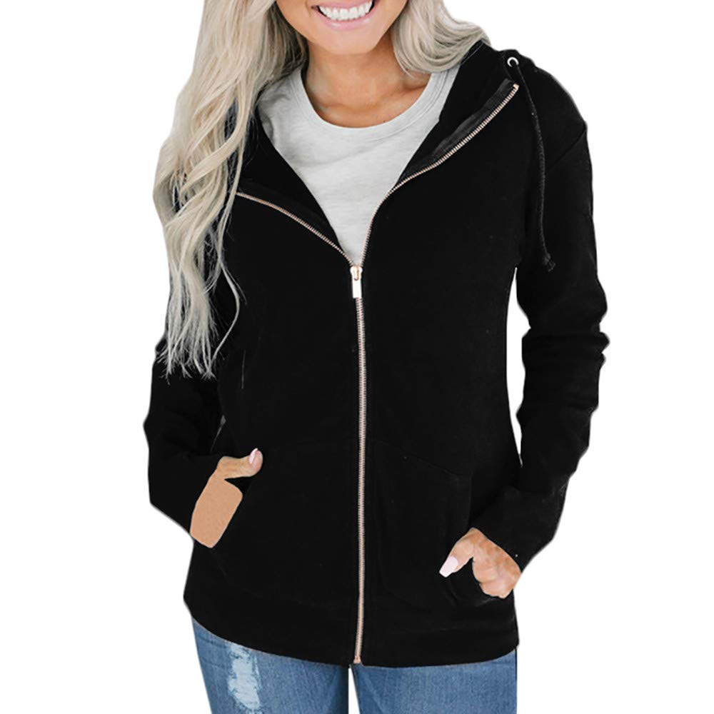 HHei_K Womens Lounge Plain Color Long Sleeve Zipper Up Pocket Hoodie Jacket Drawstring Hooded Sweatshirt Coat
