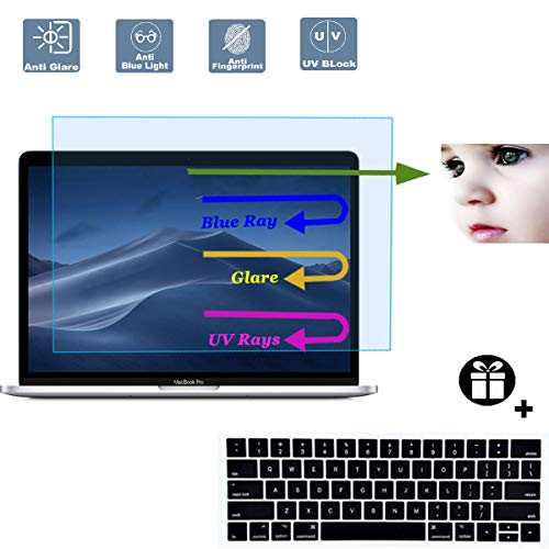2 Pack Anti Blue Light Anti Glare Screen Protector Fit 2016-2019 MacBook Pro 15 Model A1707 A1990 with Touch Bar with Gift Keyboard Cover, Eyes Protection Filter Reduces Eye Strain Help You Sleep