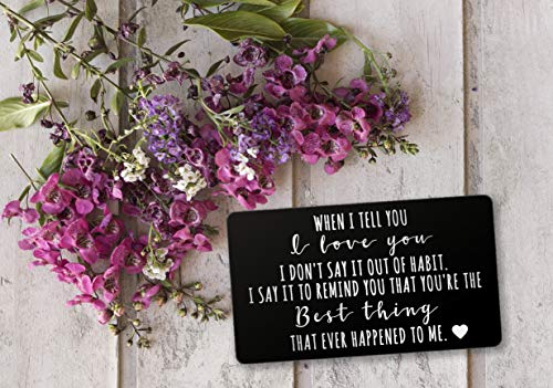 Engraved Stainless Steel Wallet Card Insert - Anniversary Wedding Gift Idea - Unique Mini Love Note for Husband Wife (Black) by PinMaze (Image #2)