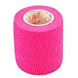 Pack of 3 Rolls Waterproof Self Adhesive Bandage Tape Finger Joints Wrap Sports Care (2 inch*6yds, Fluorescnet Pink)