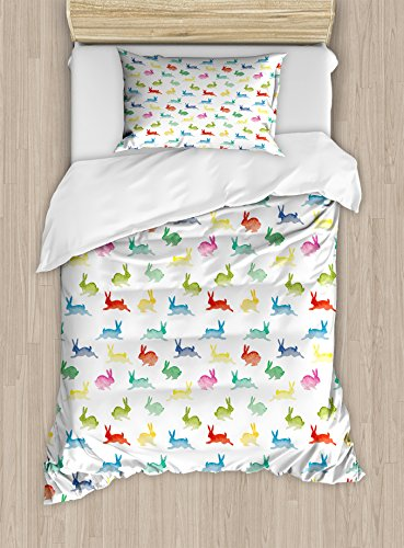 Lunarable Paint Duvet Cover Set, Rabbits in Different Poses Jumping Running Bunnies Happy Easter Paintbrush Art, Decorative 2 Piece Bedding Set with 1 Pillow Sham, Twin Size, Green Red