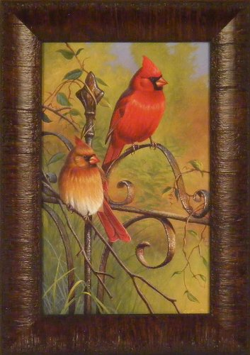 Garden Visitors by Cynthie Fisher 11x15 Cardinals Song Birds Framed Art Print Wall Décor Picture (Pictures Of Cardinals)