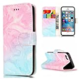 iPhone 5C Case,IVY [Kickstand Feature] iPhone 5C Wallet Case [ID&Credit Card Pockets][Pink & Green Marble] Premium Soft TPU Synthetic Leather Flip Cover Wallet Case For Apple iPhone 5C Phone