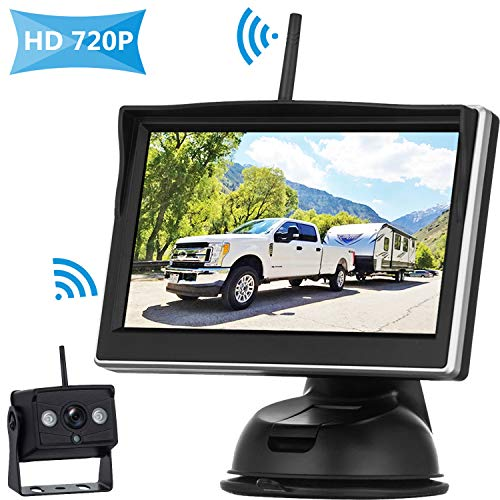 HD 720P Digital Wireless Backup Camera High-Speed Observation System for RVs/Trucks/Vans/Pickups/Trailers with 5''Monitor Rear/Front View IP69K Waterproof Super Night Vision Continous/Reversing Use ()