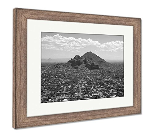 (Ashley Framed Prints Exclusive Living On Camelback Mountain, Wall Art Home Decoration, Black/White, 26x30 (Frame Size), Rustic Barn Wood Frame, AG6497206)