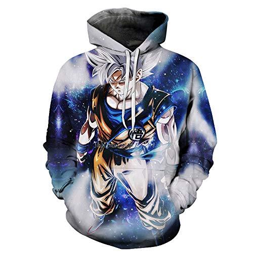 Fleece Anime Cosplay Cap - Lu&lu Cartoon Boys Girls Dragon Ball Z Goku 3D Print Hooded Sweatshirt Pullover Pocket Fleece Blouse Top (S-6XL)