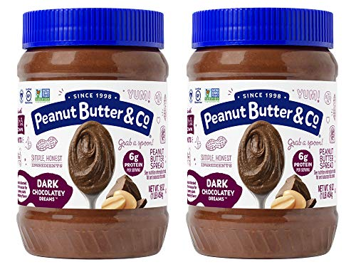 Peanut Butter & Co. Dark Chocolatey Dreams Peanut Butter, Non-GMO Project Verified, Gluten Free, Vegan, 16 oz Jars (Pack of 2)