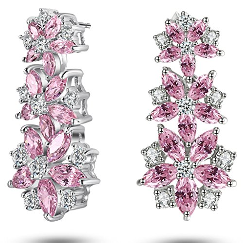 Caperci Sterling Silver Cubic Zirconia and Created Pink Sapphire Flower Dangle - Pink Sapphire Flower Ring