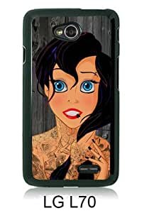 Charming Princess Tattoo Ariel Black Newest Customized LG L70 Phone Case