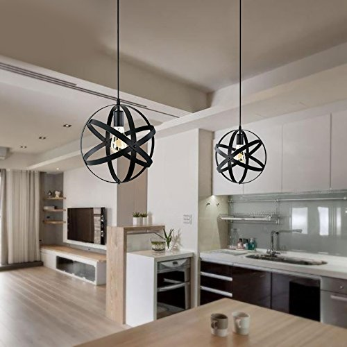 Pauwer Industrial Spherical Pendant Light Vintage Sphere Chandelier Lighting Glob Hanging Light Fixtures (Black B) by Pauwer (Image #5)