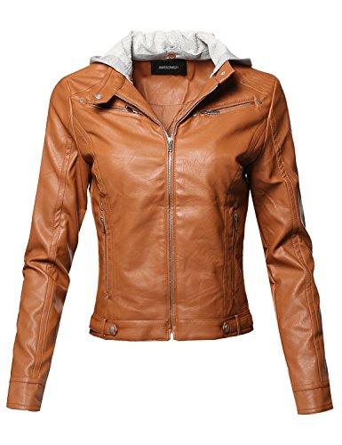 Womens Contrast Stitch Lightweight Jacket - Awesome21 Casual Detached Hood Zipper Closure Stitch Detail Moto Jacket Cognac Size M
