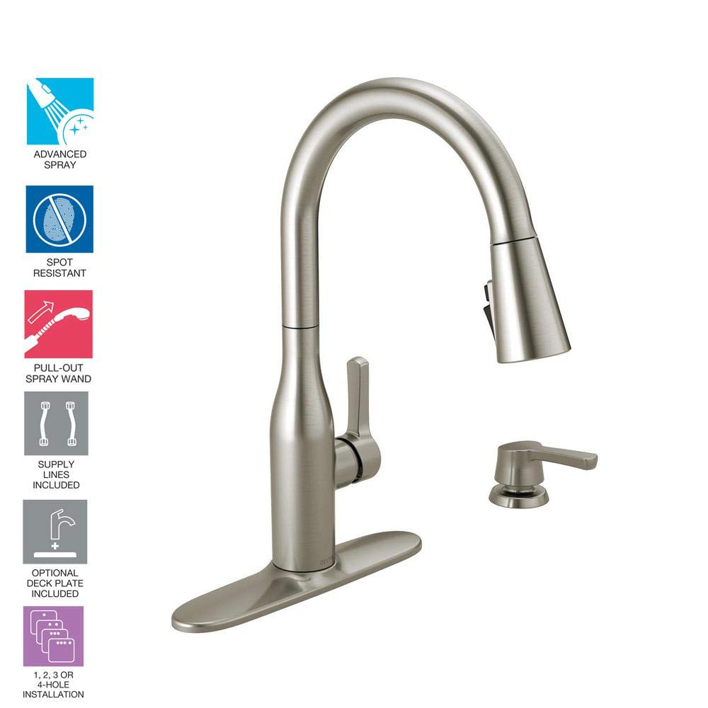 Delta 19780Z-SPSD-DST Marca Single-Handle Pull-Down Sprayer Kitchen Faucet with ShieldSpray Technology