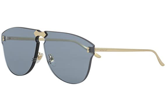 6020c38386 Amazon.com  Gucci GG 0354S 003 Gold Metal Aviator Sunglasses Blue ...