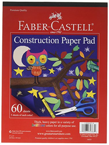 "Price comparison product image Faber-Castell Construction Paper Pad - Multi-Colored Craft Paper (9"" x 12""),  60 Sheets"