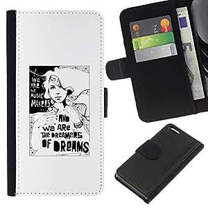 WINCASE Cuadro Funda Voltear Cuero Ranura Tarjetas TPU Carcasas Protectora Cover Case Para Apple Iphone 5C - soñador blanco metáfora profundo significado