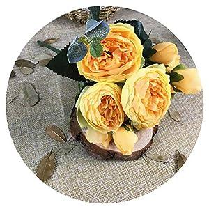 1 Bunch Artificial Silk Rose Peony Flowers 5 Heads Bouquet Flores Fall Home Decor Wedding Decoration Fake Flower Wreath,G 22