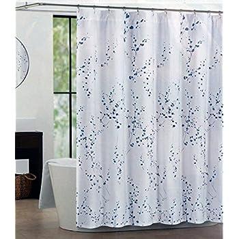 Tahari Fabric Shower Curtain Blue Silver