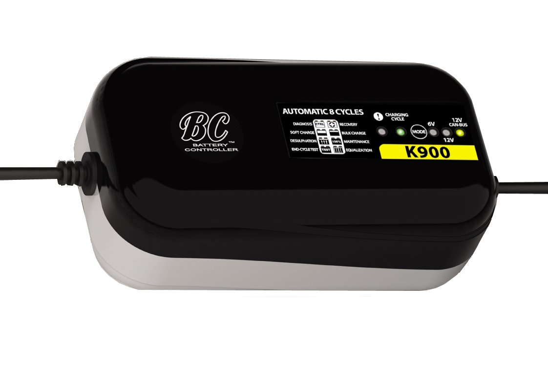 BC K900 US - 6V/12V 0.9A - Supersafe 8-Step Battery Charger with CAN-Bus Program for BMW Motorcycles and 6V Program for Vintage Cars/Motorcycles - US Plug