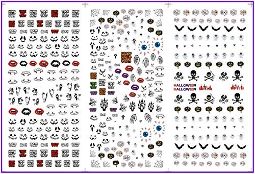 3 Pc/Set Halloween Ghost Skull Pumpkin Bat Castle Vampire Nails Art Stickers Water Decal Professional Girls Stamp Plates Alluring Popular Gel Acrylic Tips Nail Wraps Kits ()