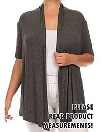 Women's Plus Size Open Draped Front Short Sleeve Cardigan Sweater Knit