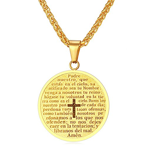 U7 Stainless Steel / 18K Gold Plated Round Coin Medal Cross & Lords Prayer Necklace Pendant for Men Boys