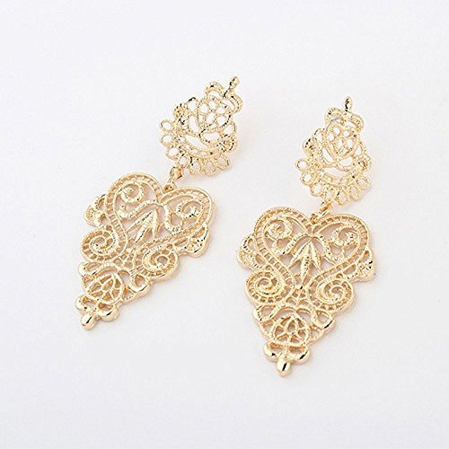 Fuleewoo 1 Pair Golden Silver Alloy Hollow Vintage Fine Jewelry Dangle Earrings Long Women