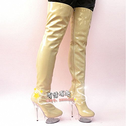 stage boots Knee Boots crystal heels high catwalk fashion cm 15 qIwzSYn