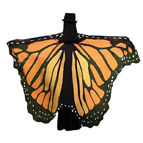 [Vovomay Adult Soft Butterfly Wings Summer Beach Shawl Adult Costume Accessory (197125cm (Chiffon), Orange] (Orange Adult Butterfly Costumes)