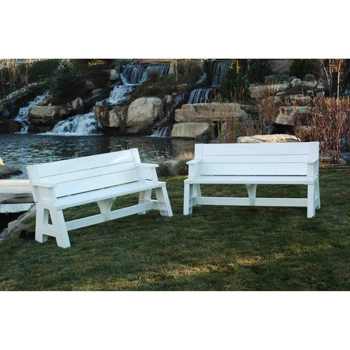 Patio Convert A Bench Outdoor Bench and Picnic Table Мultiple Functions Durable Resin and Vinyl Мaterials Lightweight Easy to Assemble Weather Resistance Мaintenance Free Perfect for Garden (Convertible Unit Bench)